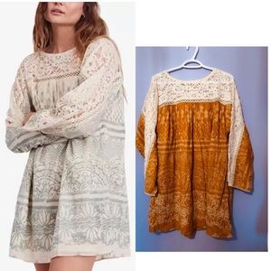 Free People Sun Daze Lace-Contrast Mini Dress